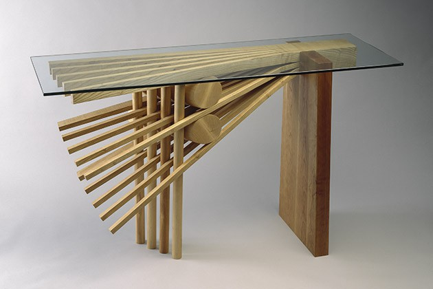Ash Explosion hall table number 1, made from wood with glass top console by Seth Rolland furnituremaker