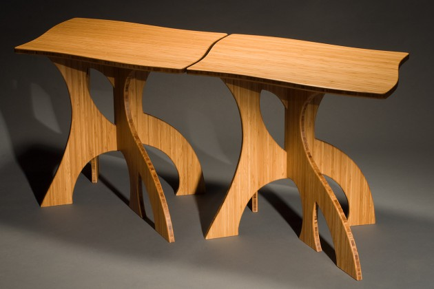 Nesting side tables in bamboo, contemporary, modern hand crafted by Seth Rolland custom furniture