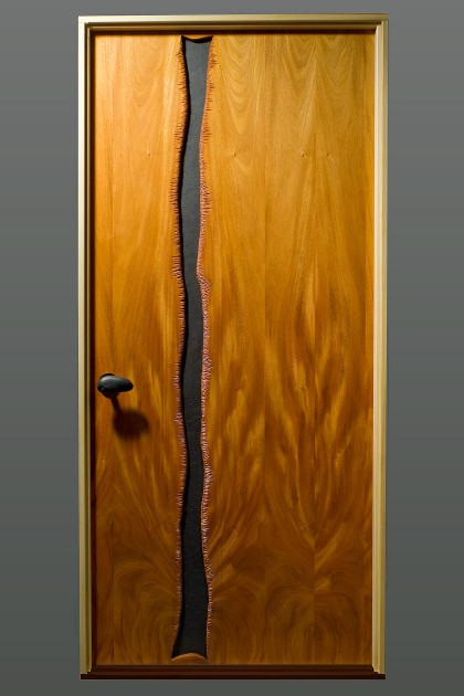 Cascade door carved mahogany wood and slate by Seth Rolland custom furniture design