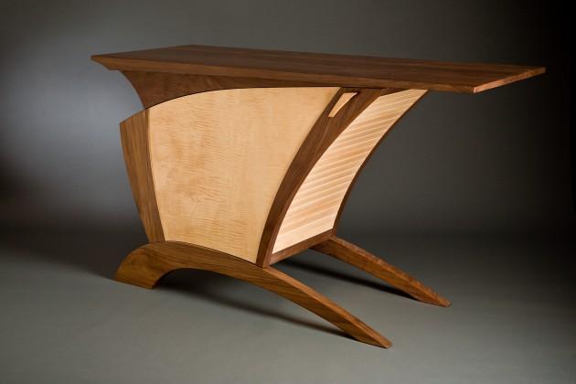 Walnut and maple wood credenza buffet by Seth Rolland custom furniture design