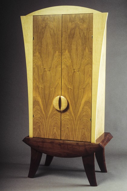 Cherry, walnut and maple armoire or liquor cabinet can be custom made by Seth Rolland furniture design