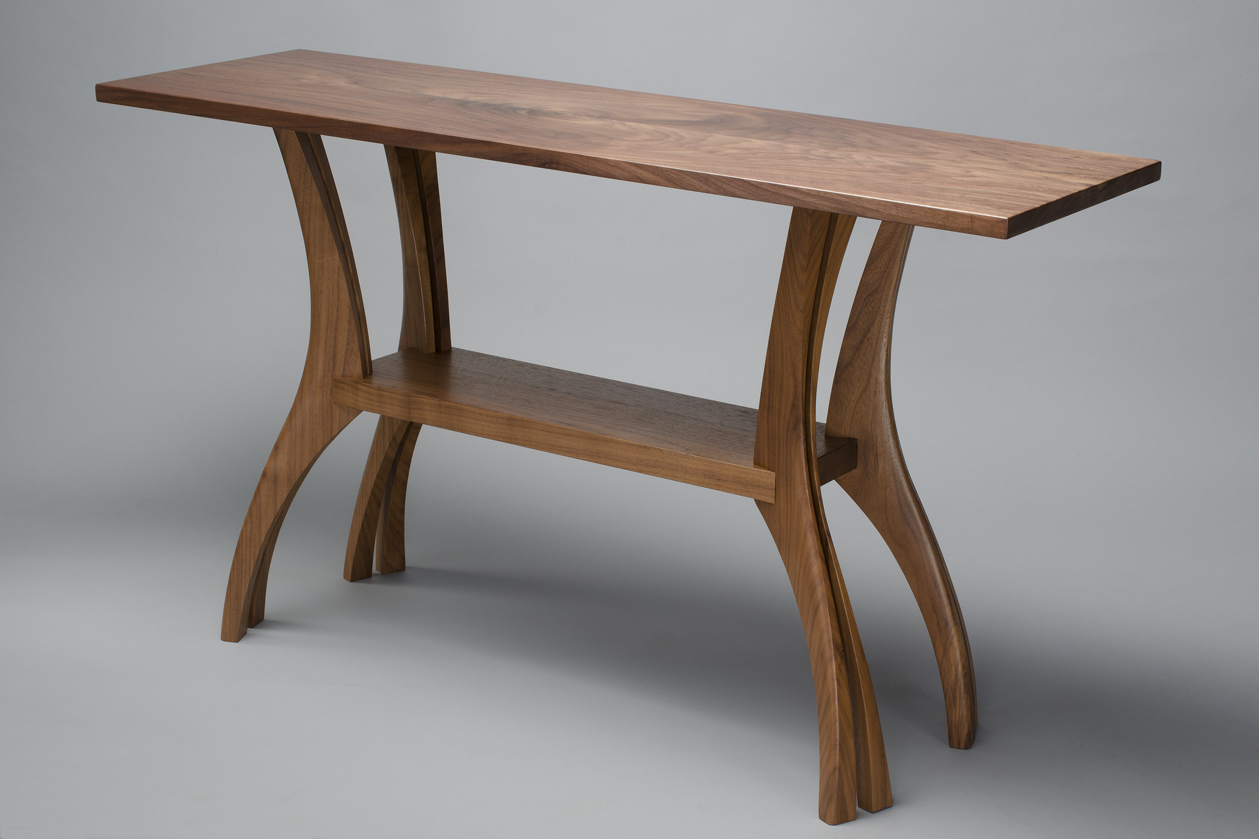 seth rolland finback hall table  sustainable wood coffee table