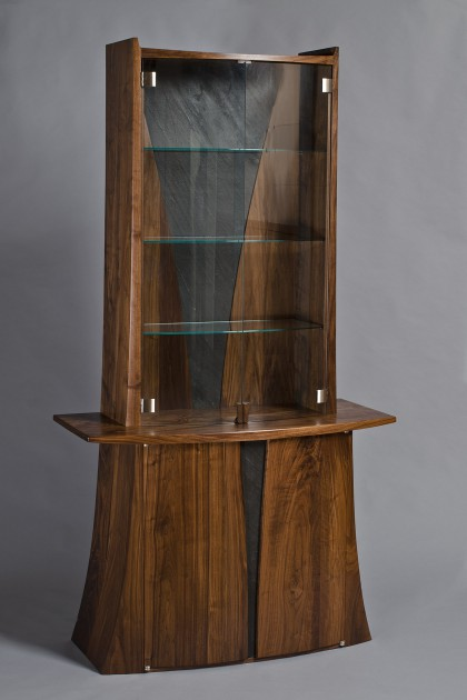 Walnut wood and glass dining room hutch and display cabinet curved with slate by Seth Rolland custom furniture design