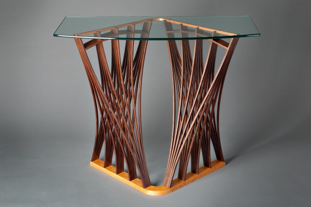 Architectural wood Parabola hall entry table console with glass top by furniture maker Seth Rolland