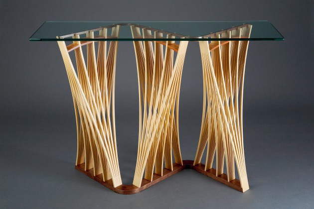 Solid ash wood hall table cut and steam bent into expanded forms hand crafted by woodworker Seth Rolland