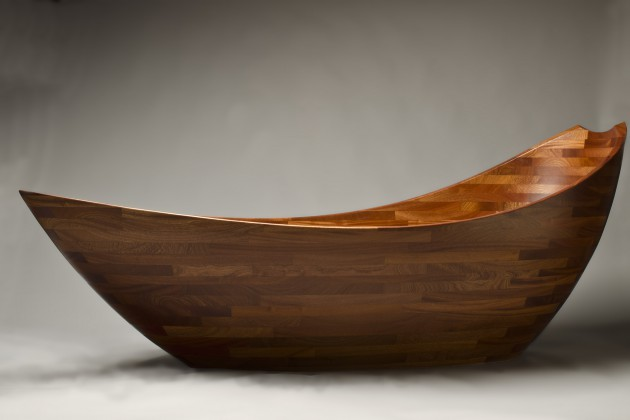 Salish Sea bathtub custom carved wooden soaking tub hand crafted by Seth Rolland fine furniture design