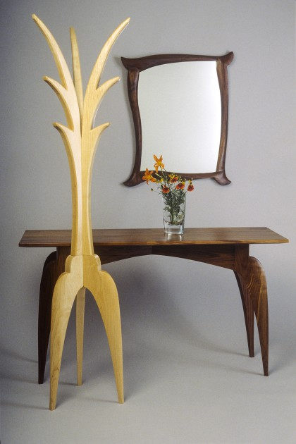 carved wood hall table, coat rack and mirror made in custom sizes by Seth Rolland furniture design