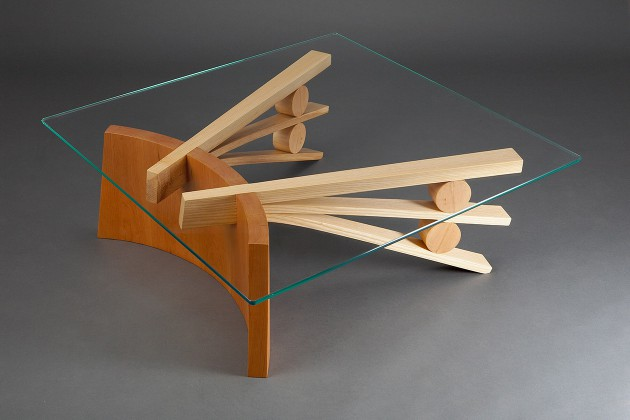 Square glass top coffee table with curved wood base made from coopered cherry and bent ash wood by Seth Rolland Custom Furniture design