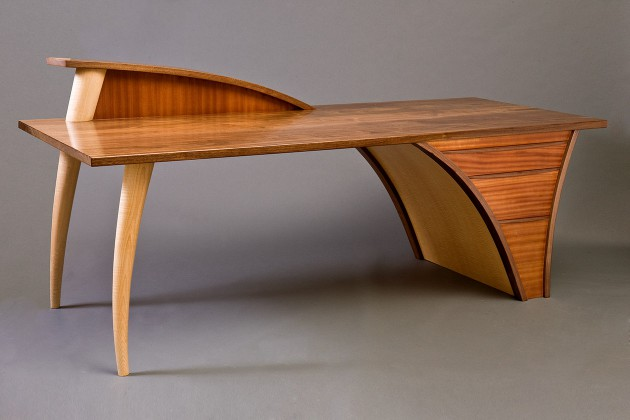 carved, modern wood desk with walnut top and drawers custom made by Seth Rolland studio furniture design